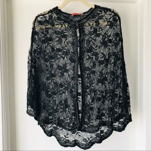 NWOT Black Lace and Bead Cape Cardigan